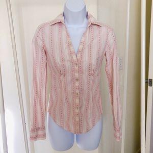 Ben Sherman pink button down blouse shirt XS